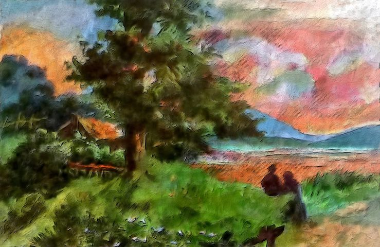 painting of a countryside scene