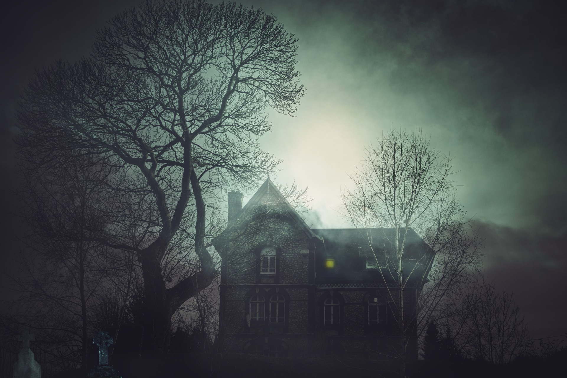 Image of a house on a moonlit night